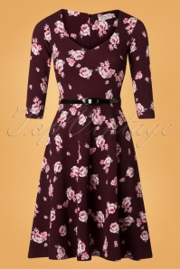 50s Suzan Floral Swing Dress in Wine