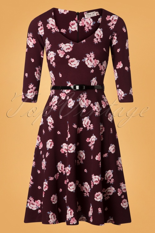 Vintage Chic Waterfall Crepe Wine Floral Dress 26509 20180724 0003W