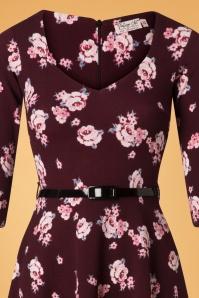 Vintage Chic Waterfall Crepe Wine Floral Dress 26509 20180724 0003V