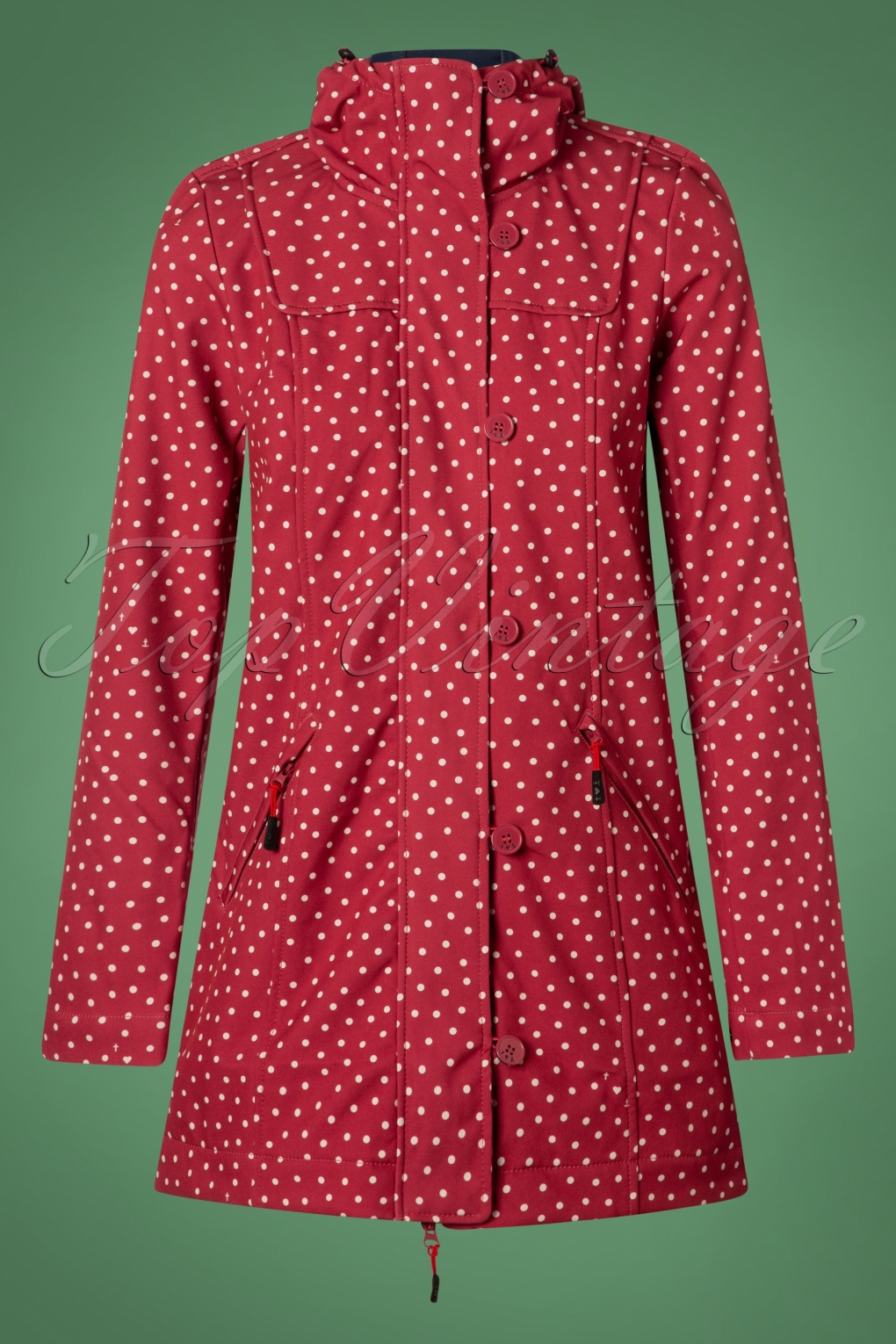Vintage Coats & Jackets | Retro Coats and Jackets 60s Wild Weather Long Anorak in Dot and Love Red £133.91 AT vintagedancer.com