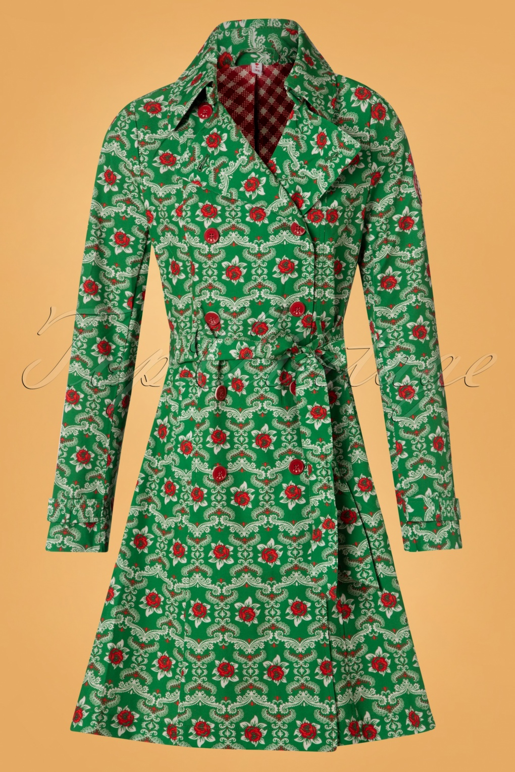 Vintage Coats & Jackets | Retro Coats and Jackets 60s Casablanca Souvenir Trench Coat in Highnoon Saloon Green £142.84 AT vintagedancer.com