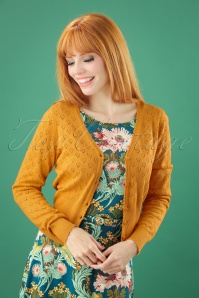 King Louie 40s Heart Ajour Cardigan in Honey
