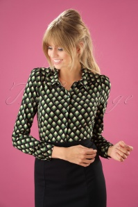 60s Oddity Blouse in Avar Green