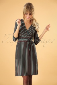 60s Cecil Blackjack Stripe Dress in Dragonfly Green