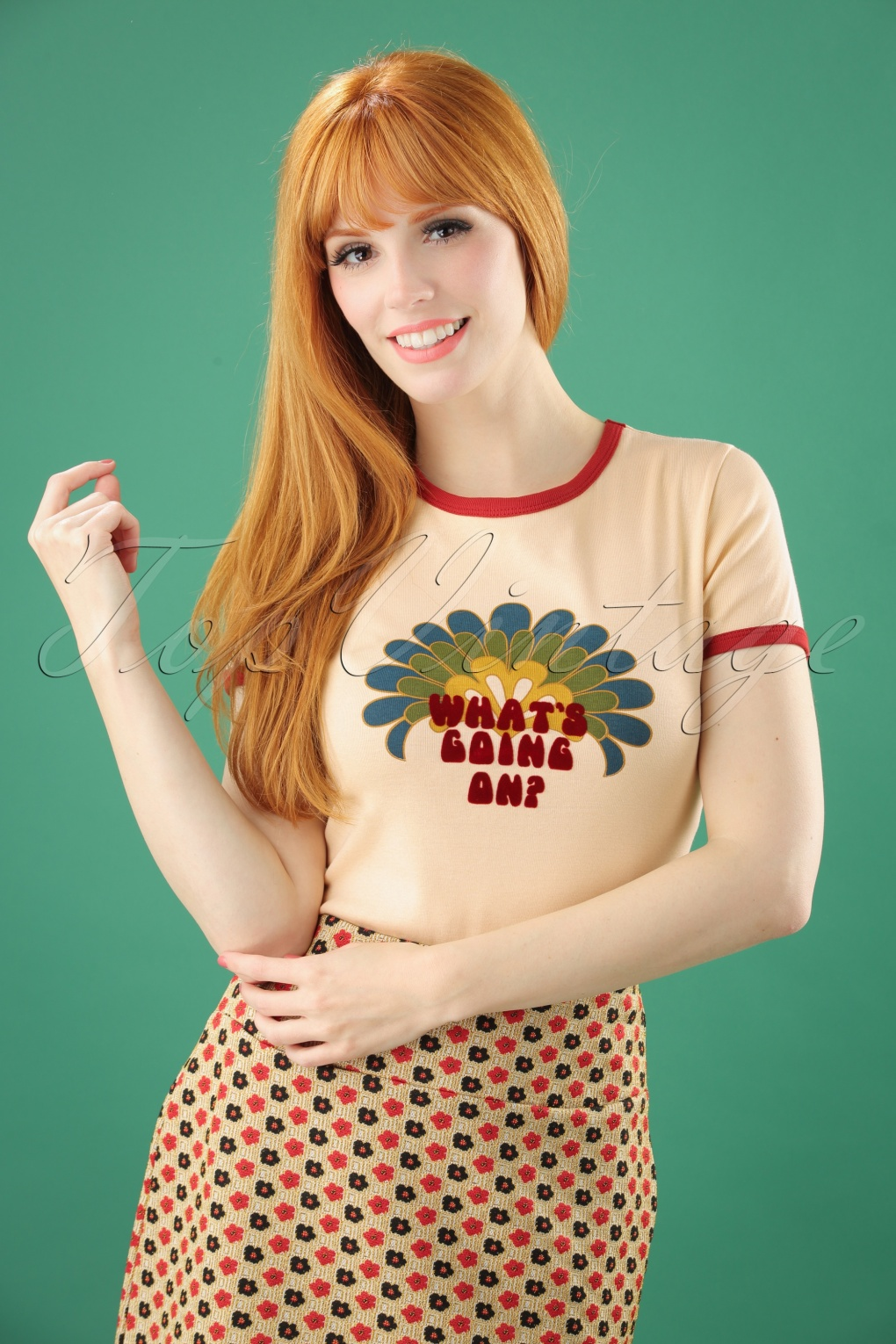 Women's 70s Shirts, Blouses, Hippie Tops 70s Whats Going On Tee in Sand £25.10 AT vintagedancer.com
