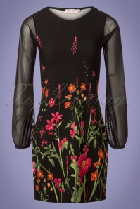 Jada Floral Border Mesh Sleeves Dress Années 60 en Noir