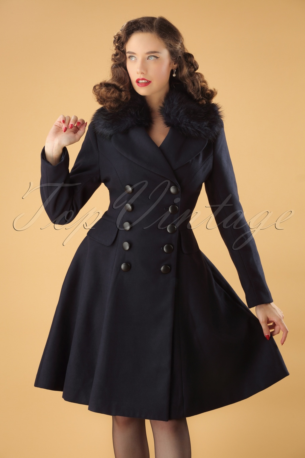 1960s Style Dresses, Clothing, Shoes UK 50s Milan Coat in Navy £116.69 AT vintagedancer.com