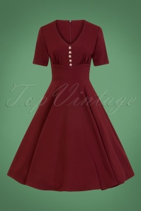 Mila Swing Dress Années 50 en Bordeaux