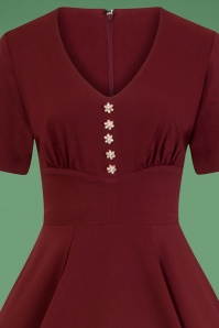 Bunny 50s Mila Swing Dress Burgundy 25836 1V