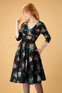 50s Blue Bell Floral Swing Dress in Black