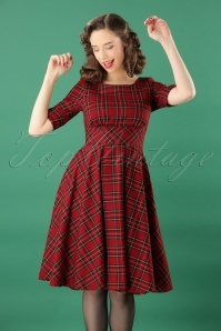 50s Irvine Tartan Swing Dress in Red