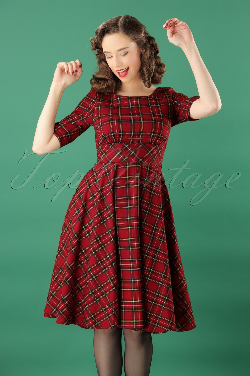 Vintage Christmas Gift Ideas for Women 50s Irvine Tartan Swing Dress in Red £62.35 AT vintagedancer.com