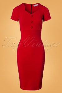 Vintage Chic Red Button Pencil Dress 26339 20180726 0001W
