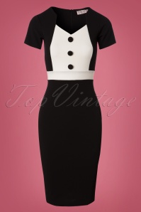 Vintage Chic Scuba Crepe Black and White Pencil Dress 26338 20180726 0003W