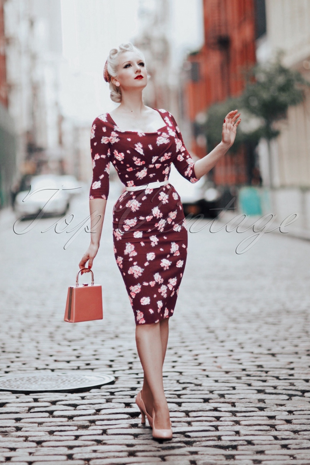 Pin Up Dresses | Pinup Clothing & Fashion 50s Ruby Floral Pencil Dress in Wine £51.91 AT vintagedancer.com