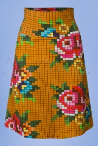 Tante Betsy Mustard Yellow Pixel Skirt 25435 20180726 0001W