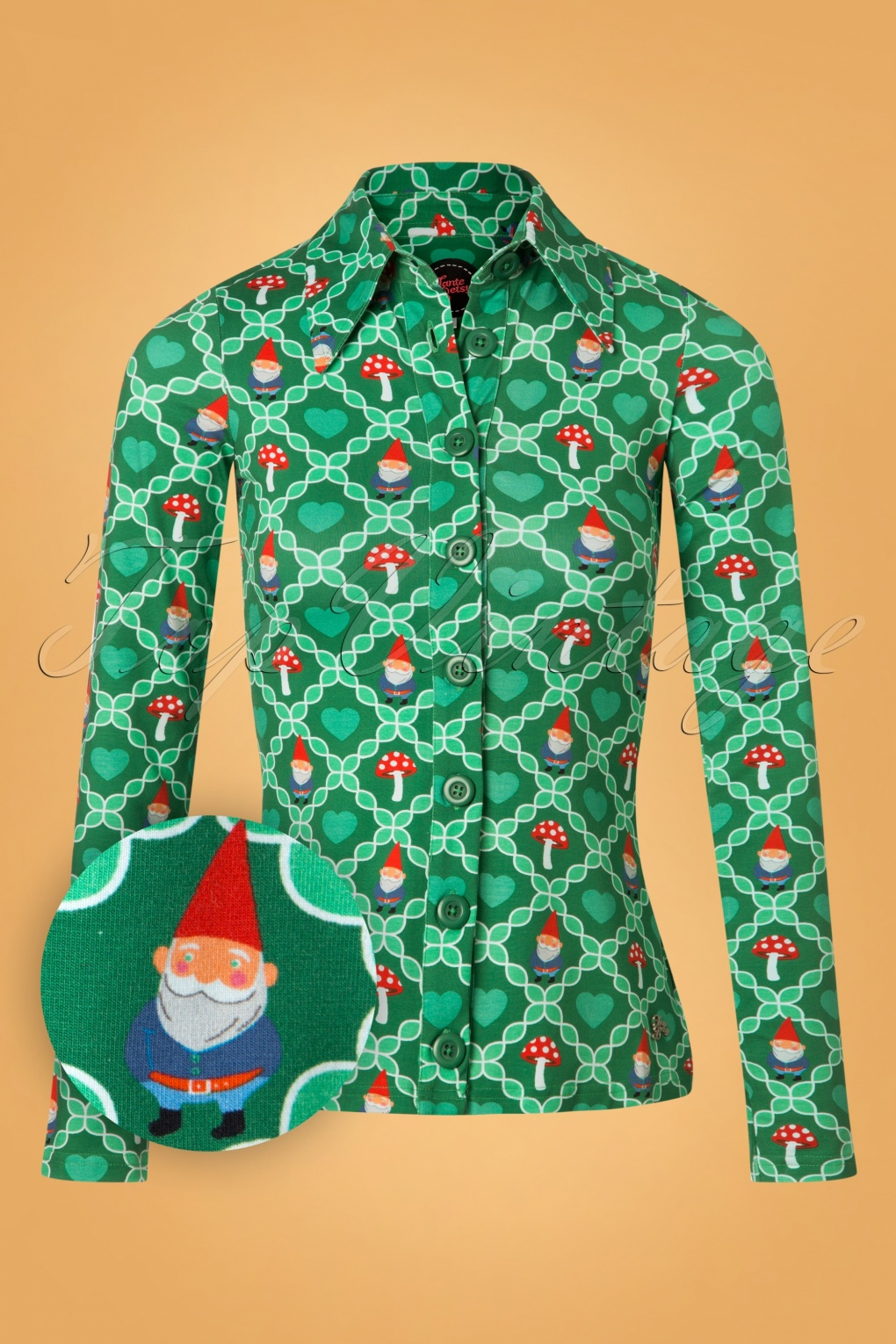 60s gnome love blouse in green. Black Bedroom Furniture Sets. Home Design Ideas