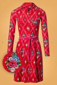 60s Betsy Gardenia Dress in Red