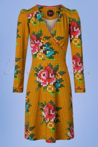 Tante Betsy Mustard Pixel Roses Dress 25434 20180726 0001W