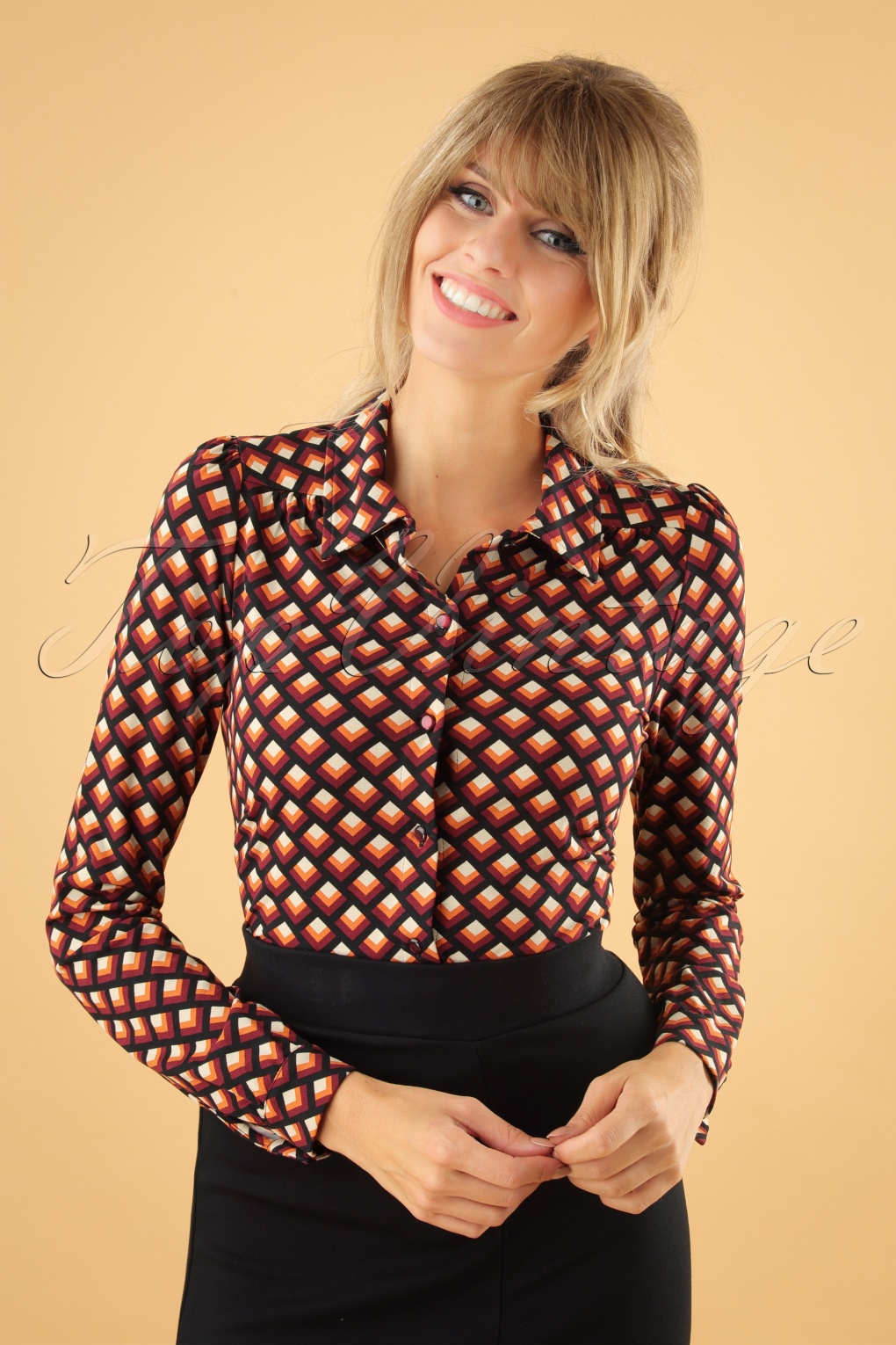 Women's 70s Shirts, Blouses, Hippie Tops 60s Oddity Blouse in True Red £60.97 AT vintagedancer.com