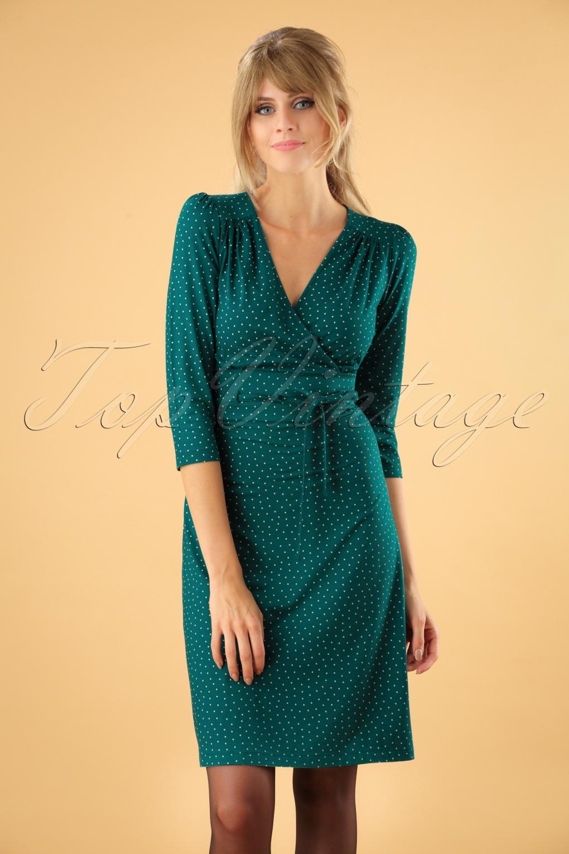 Vintage Polka Dot Dresses – 50s Spotty and Ditsy Prints 60s Cecil Little Dots Dress in Dragonfly Green £89.26 AT vintagedancer.com