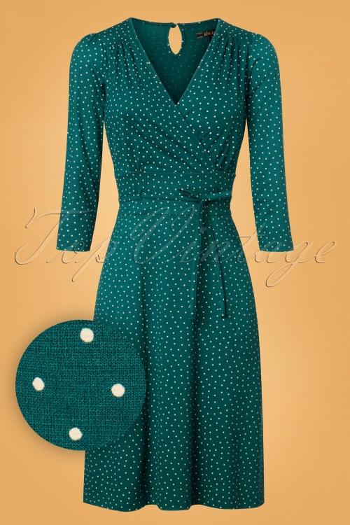 tamaris kleid grün tupfen