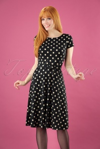 Betty Party Polka Dress Années 60 en Noir