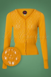 Tante Betsy 60s Ajour Cardigan in Yellow Gold