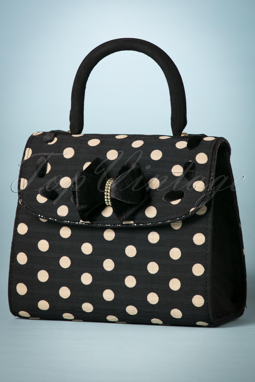 Vintage & Retro Handbags, Purses, Wallets, Bags 50s Santiago Handbag in Black Spots £49.83 AT vintagedancer.com