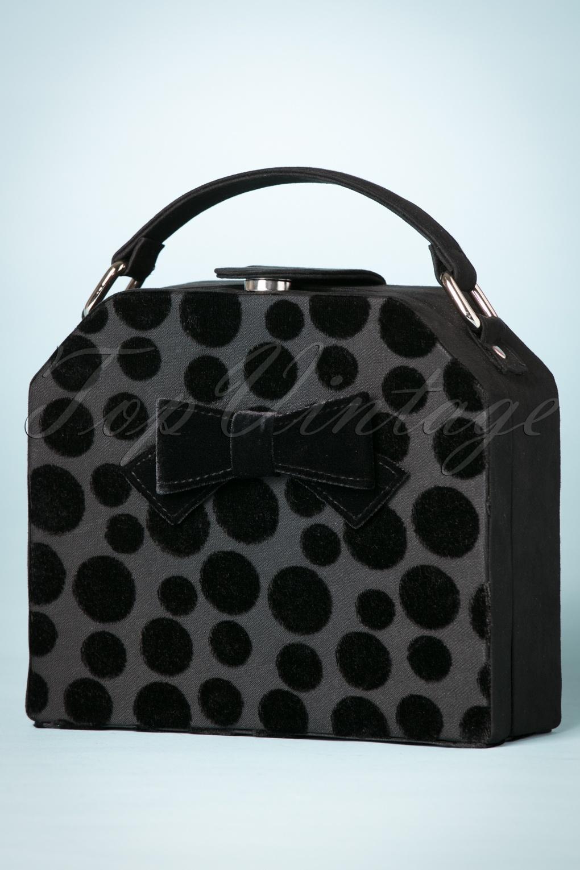 Vintage & Retro Handbags, Purses, Wallets, Bags 60s Santa Fe Dots Handbag in Black £49.88 AT vintagedancer.com