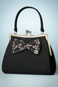 50s Logan Lace Bow Handbag in Black