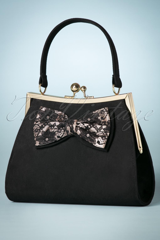 Vintage & Retro Handbags, Purses, Wallets, Bags 50s Logan Lace Bow Handbag in Black £56.07 AT vintagedancer.com
