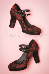 50s Laura Pumps in Black and Red