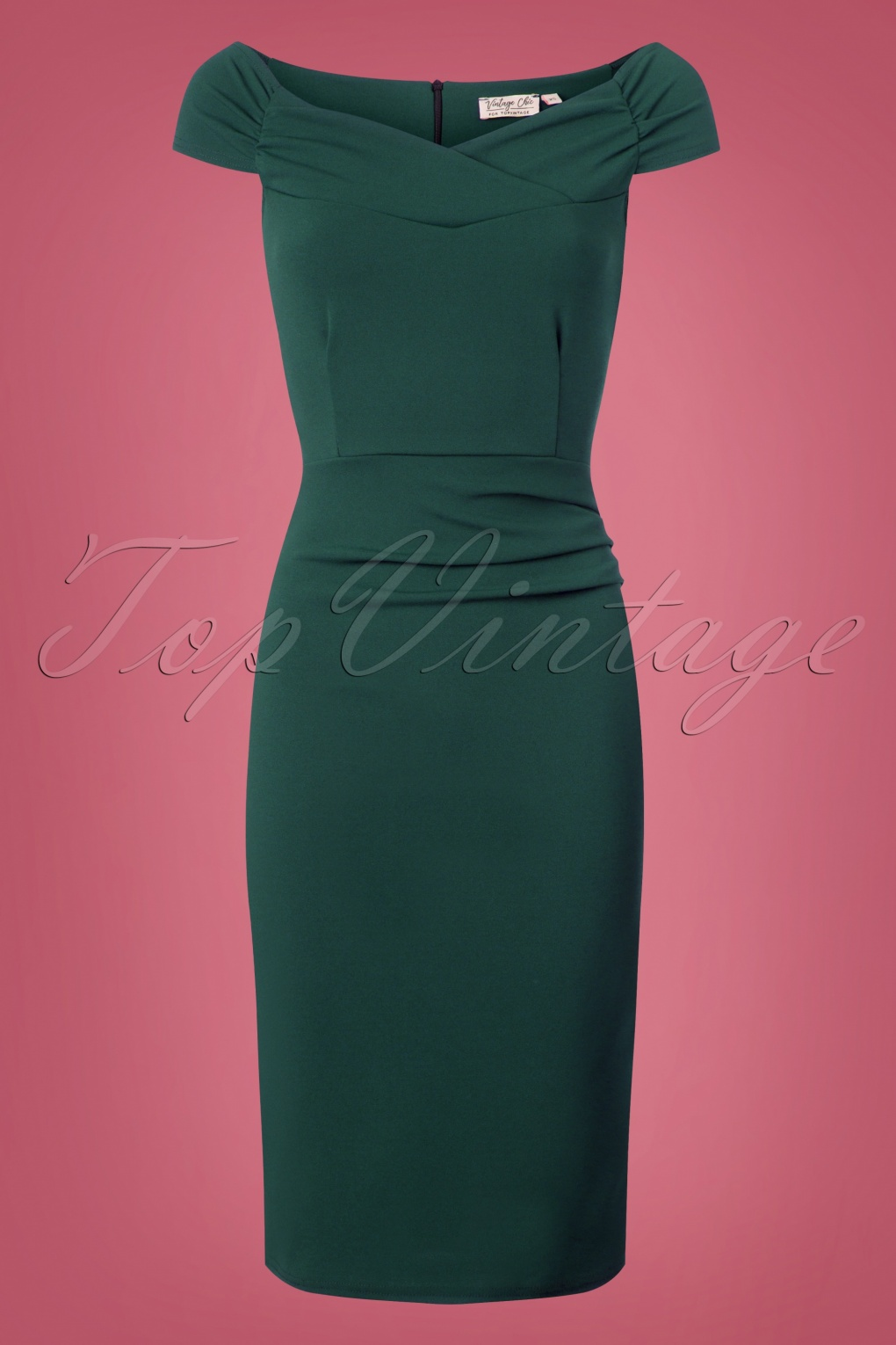 Pin Up Dresses | Pinup Clothing & Fashion 50s Cynthia Pencil Dress in Forest Green £44.74 AT vintagedancer.com
