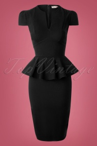 Vintage Chic Black Deep V Dress 100 10 14567 20150127 0010