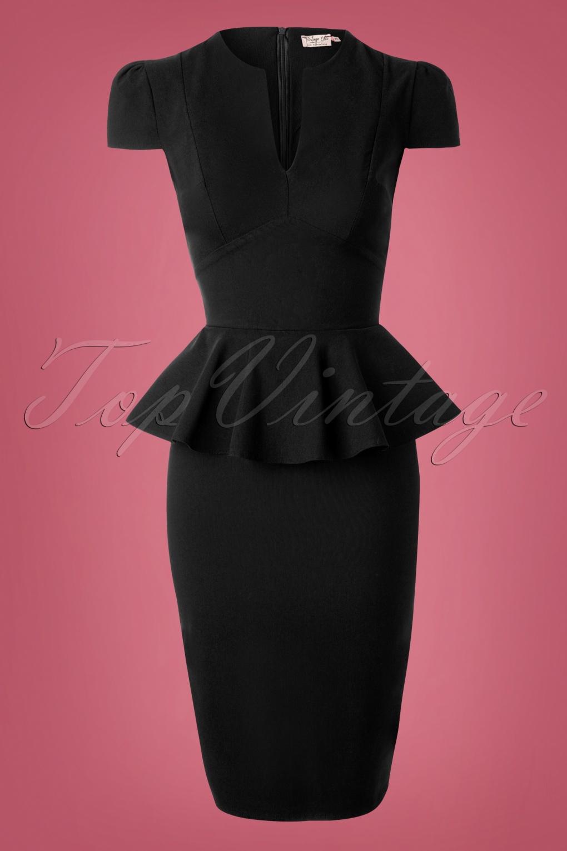 1950s Prom Dresses & Party Dresses 50s Carry Peplum Dress in Black £49.18 AT vintagedancer.com