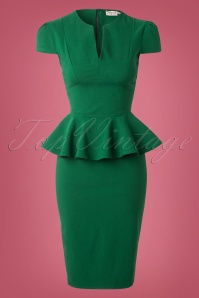 50s Carry Peplum Dress in Emerald