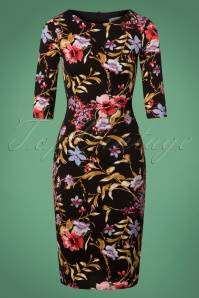 50s Signature Floral Pencil Dress in Black and Gold