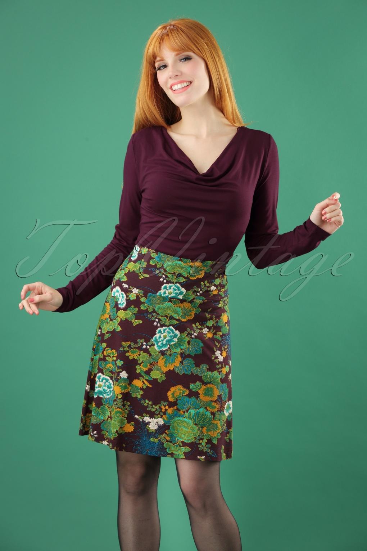 60s Skirts | 70s Hippie Skirts 60s Nisai Borderskirt in Grape Purple £53.54 AT vintagedancer.com