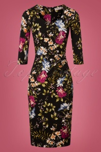 Vintage Chic Black Floral Pencil Dress 100 14 26457 20180801 0001W