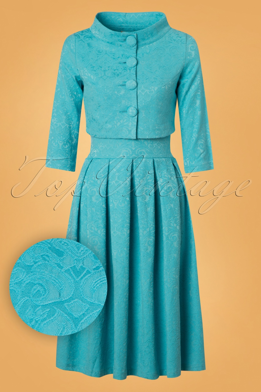 1960s Dresses | 60s Dresses Mod, Mini, Jakie O, Hippie 60s Marianne Jacquard Twin Set in Aqua Blue £71.38 AT vintagedancer.com