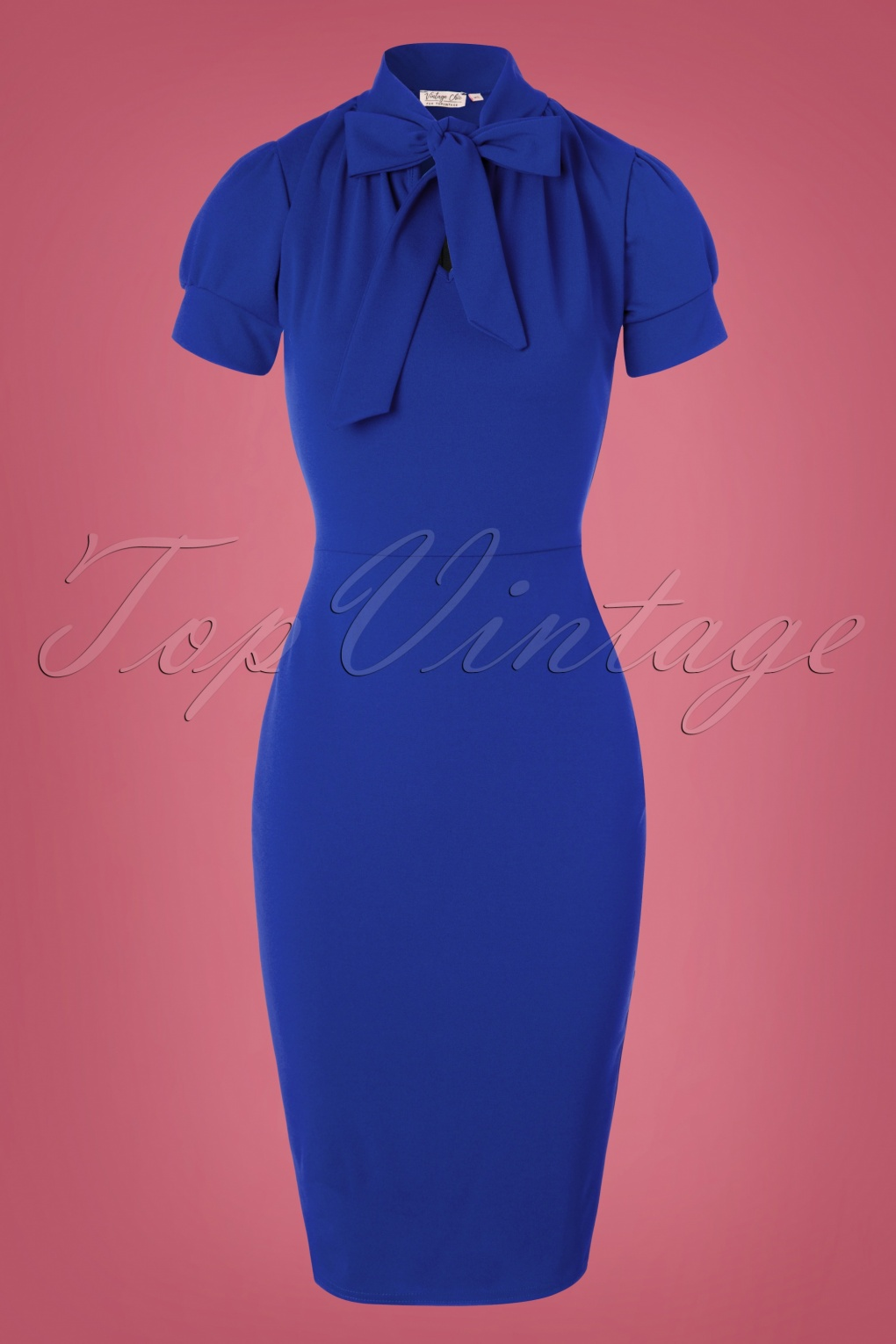 Pin Up Dresses | Pinup Clothing & Fashion 50s Bonnie Tie Neck Pencil Dress in Royal Blue £44.79 AT vintagedancer.com