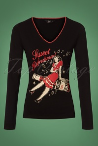 50s Sweet Refreshment Longsleeve in Black
