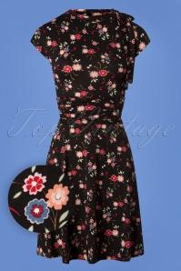 50s Natasha Floral Bombshell Dress in Black