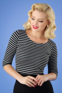 50s Bonnie Stripes Top in Black and White