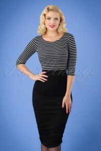 50s Gia Bodycon Pencil Skirt in Black