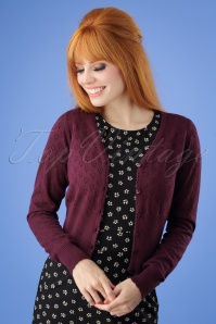 40s Heart Ajour Cardigan in Grape