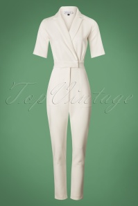 60s Fawn Suit Up Jumpsuit in White