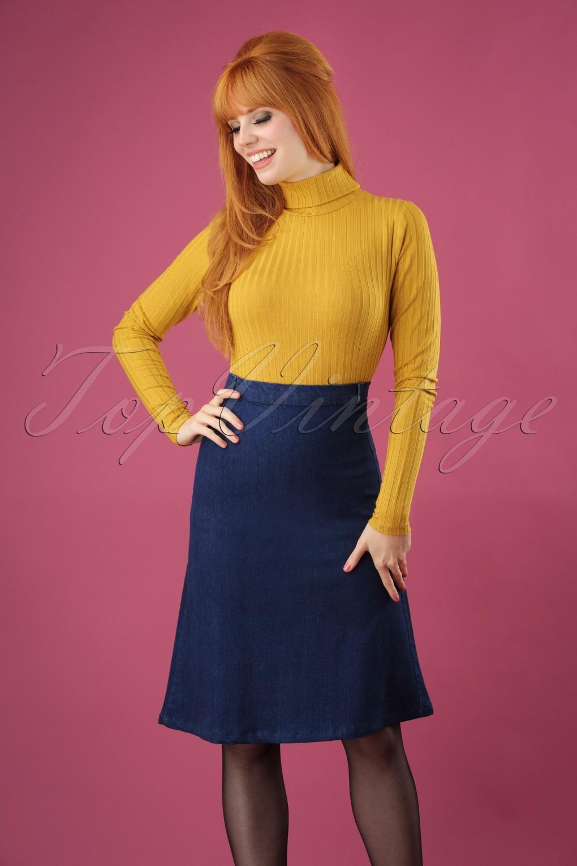 60s Skirts | 70s Hippie Skirts 60s Wales Skirt in Denim Blue £62.47 AT vintagedancer.com