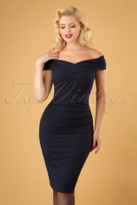 50s Cynthia Pencil Dress in Navy